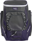Front of a purple Impulse baseball backpack with a gray front pocket - SKU: IMPLSE-PU image number null