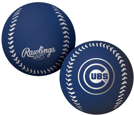 A blue Chicago Cubs Big Fly rubber bounce ball
