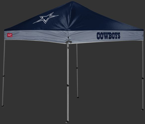 A blue/gray Dallas Cowboys 9x9 shelter with a team logo on the left side - SKU: 03231065112