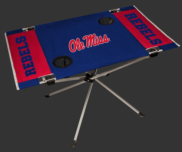NCAA Ole Miss Rebels endzone table featuring team logos, team colors and two cup holders SKU #04053087111