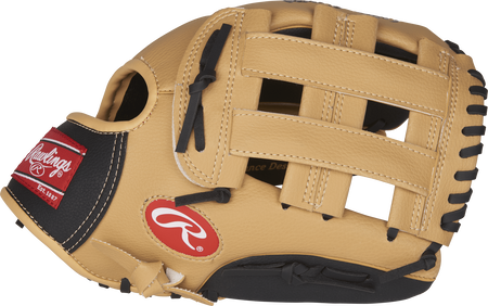 Thumb view of a camel PL115BC Players Series 11.5-inch youth glove with black trim and a camel H web