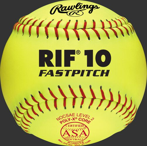 A yellow R12RYSA ASA RIF 10 official 12-inch softball