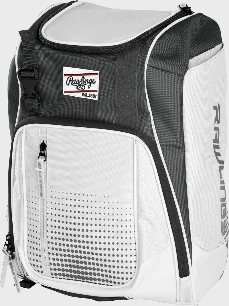 Front angle of a white Franchise backpack with gray accents and white Rawlings patch logo - SKU: FRANBP-W