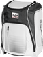 Front angle of a white Franchise backpack with gray accents and white Rawlings patch logo - SKU: FRANBP-W image number null