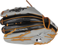 Gray/black croc embossed back of a HOH ColorSync 5.0 outfield glove with MLB logo on the pinky - SKU: PRO3030-6GC image number null