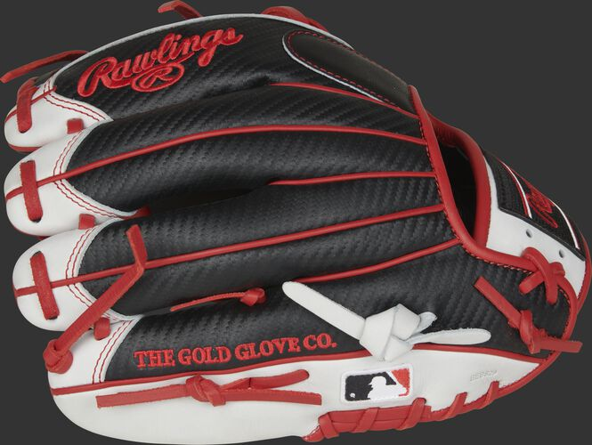 Black Hyper Shell fingers of a Rawlings HOH infield glove with the MLB logo on the pinkie - SKU: PRO204-2BSCF