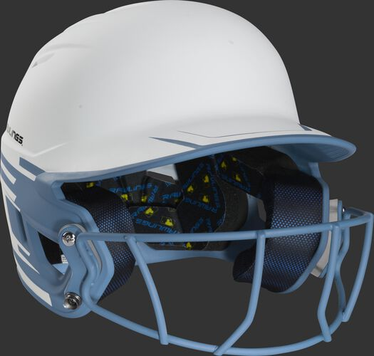 Front right of a Rawlings Mach fastpitch batting helmet with a columbia blue mask - SKU: MSB13S-W/CB