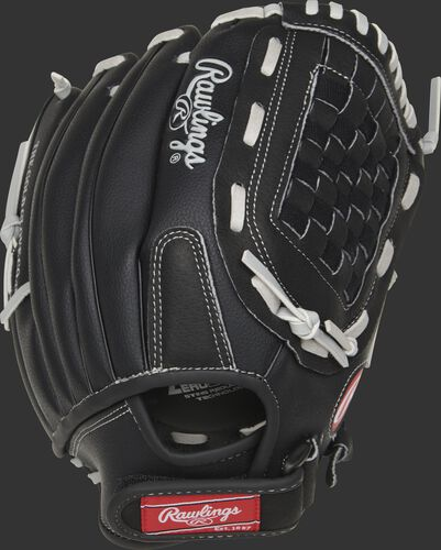 RSB120GB 12-Inch RSB basket web glove with a black back and Velcro wrist strap