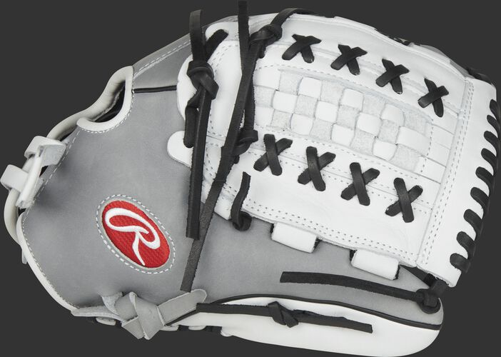 Thumb view of a PRO125SB-18GW Heart of the Hide Softball 12.5-inch outfield/pitcher's glove with a white X-laced Basket web