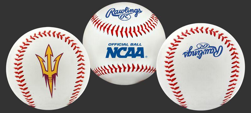 3 views of a NCAA Arizona State Sun Devils Baseball with a team logo, NCAA logo and Rawlings logo
