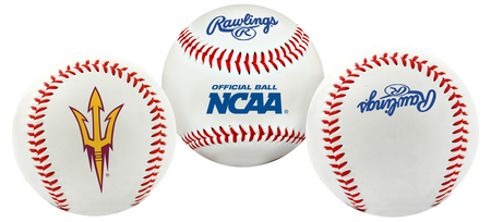 3 views of a NCAA Arizona State Sun Devils Baseball with a team logo, NCAA logo and Rawlings logo