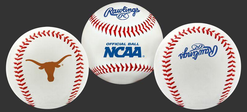 3 views of a NCAA Texas Longhorns baseball with a team logo, NCAA logo and Rawlings logo