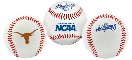 3 views of a NCAA Texas Longhorns baseball with a team logo, NCAA logo and Rawlings logo