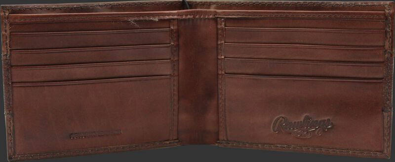 Inside of a brown RW80004-001 Rawlings bi-fold wallet with 8 credit card slots