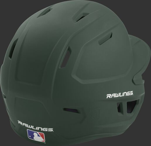 Back right of a one-tone matte dark green MACH Rawlings junior size batting helmet