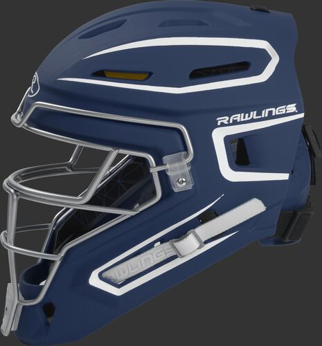 Left side of a navy CHMCHJ Rawlings junior hockey style Mach catcher's helmet
