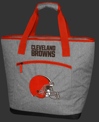 A gray Cleveland Browns 30 can tote cooler with an embroidered team logo on the front - SKU: 10311064111