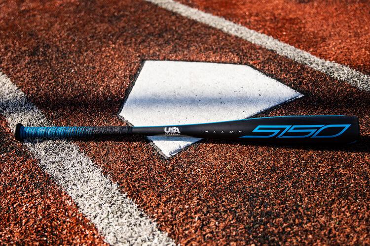 A black USA 5150 baseball bat on a field next to home plate - SKU: US15