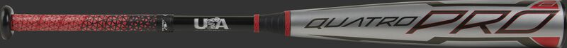 A gray 2021 -8 Quatro Pro USA bat with a red/black Lizard Skins grip - SKU: US1Q8