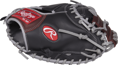 Thumb view of a black R9CM325BSG R9 Series 32.5-inch catcher's mitt with a dark sherry one-piece solid web