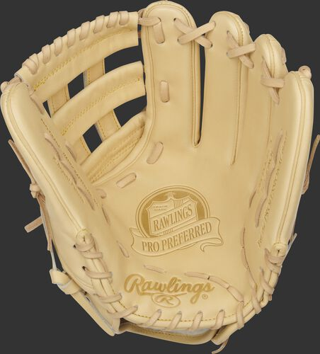 Camel palm of a 2021 Rawlings Kris Bryant Pro Preferred glove with a camel web and laces - SKU: PROSKB17C