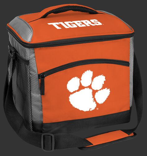 An orange Clemson Tigers 24 can soft sided cooler with screen printed team logos - SKU: 10223010111