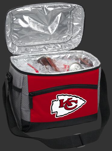 An open Kansas City Chiefs 12 can cooler filled with ice and drinks - SKU: 10111071111