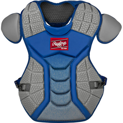 A royal/grey CSPZ Salvador Perez chest protector with a red Rawlings patch on the chest