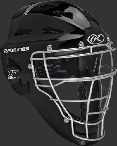 Front right of a black CHRNGD Rawlings adult Renegade catcher's helmet