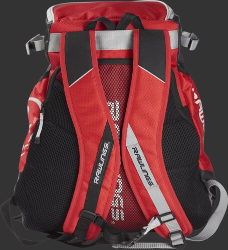 Back of a scarlet VELOBK Rawlings Velo backpack with scarlet shoulder straps