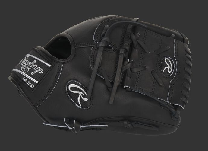 Thumb of an exclusive Heart of the Hide black infield/pitcher's glove with a black 2-piece solid web - SKU: PRO205W-9B