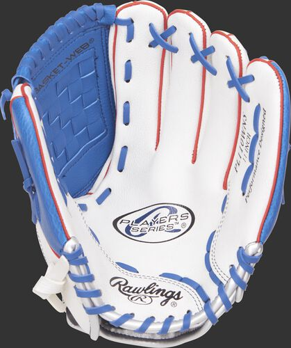 PL110WNS Rawlings 11-inch youth baseball glove with a white palm and navy laces