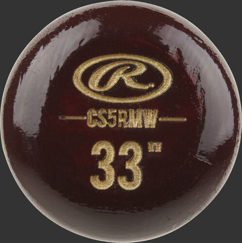 "Wine red knob of a Rawlings Big Stick Elite Maple bat with an engraved Oval-R and 33"" size - SKU: CS5RMW"