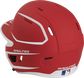 Back left view of a matte scarlet/white MACHEXTR MACH series two-tone batting helmet with air vents image number null