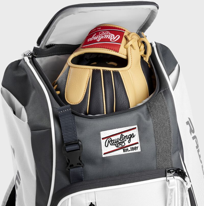 Two batting gloves hanging on the front Velcro strap of a Franchise baseball backpack - SKU: FRANBP-W