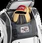 Two batting gloves hanging on the front Velcro strap of a Franchise baseball backpack - SKU: FRANBP-W image number null