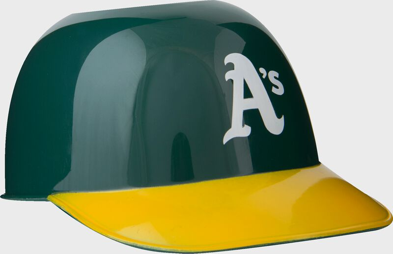 Front of Rawlings Green MLB Oakland Athletics Snack Size Helmets With Team Logo SKU #01950003121