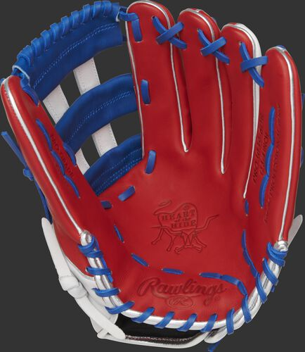 PRO3039-6DR Rawlings Heart of the Hide Dominican Republic outfield glove with a scarlet palm, white/royal web and royal laces