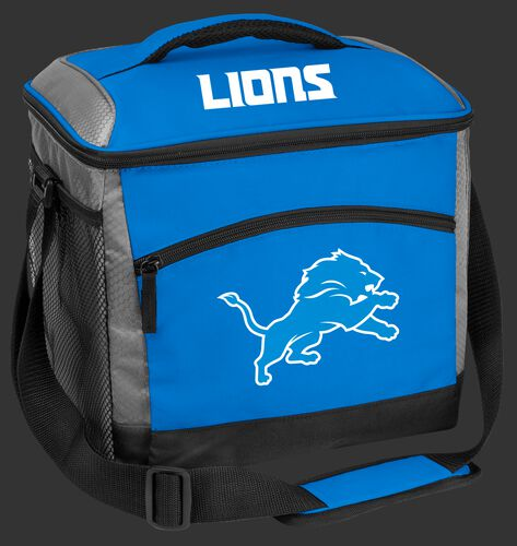 A blue Detroit Lions 24 can soft sided cooler with screen printed team logos - SKU: 10211067111