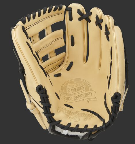 Camel palm of a Rawlings Pro Preferred infield glove with a camel web and black laces - SKU: PROS205-6CB