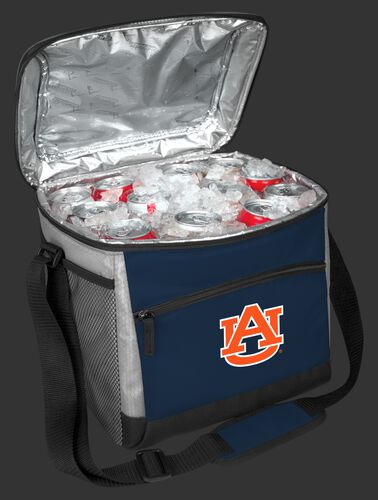 An open Auburn Tigers 24 can cooler filled with ice and drinks - SKU: 10223003111