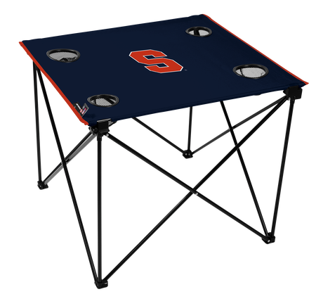 A navy NCAA Syracuse Orange deluxe tailgate table with four cup holders and team logo printed in the middle