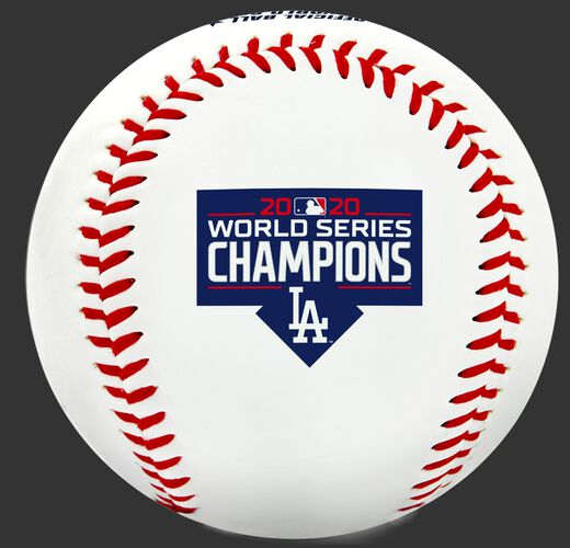 A Los Angeles Dodgers World Series Champions logo stamped on a replica baseball - SKU: 35010032282