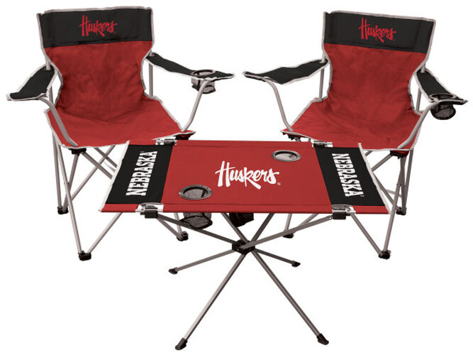 Front of Rawlings Black and Scarlet NCAA Nebraska Cornhuskers 3-Piece Tailgate Kit With Two Kickoff Chairs, An Endzone Table, And A Transport Bag With Team Logo SKU #00993089511