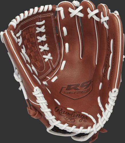 R9SB125-18DB Rawlings 12.5-inch softball glove with a brown palm and white laces