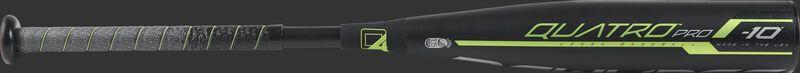 Barrel view of a UT9Q10 2019 USSSA Quatro Pro baseball bat with a black barrel and grey/black grip