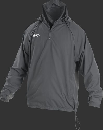 Front of Rawlings Gray Adult Long/Short Sleeve Jacket - SKU #TRITHR-DG-91