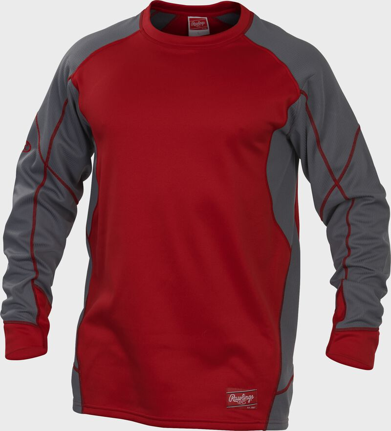 UDFP4 Dugout fleece pullover with a scarlet body, grey sleeves and scarlet stitching