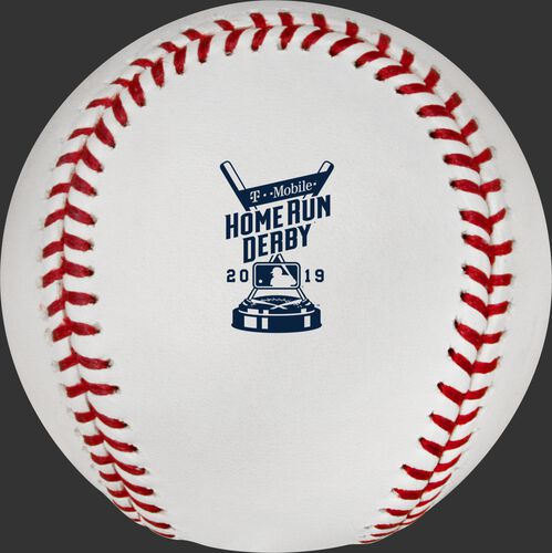 The 2019 MLB Home Run Derby logo on the ROMLBHR19 baseball