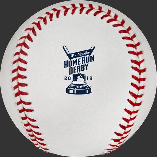 The 2019 MLB Home Run Derby logo on the ROMLBHR19 baseball